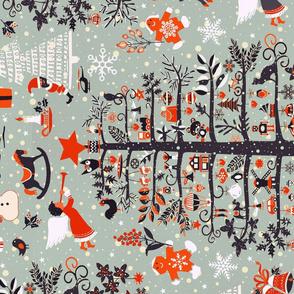 merry christmas tea towels (grey)