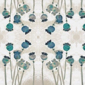 Poppies - Teal  on White and Taupe