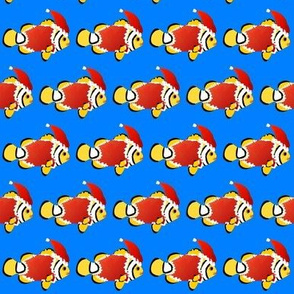 Christmas Clownfish in sea blue