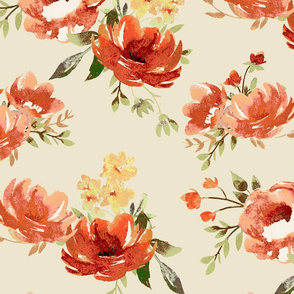 Large Red and Cream Painted Floral