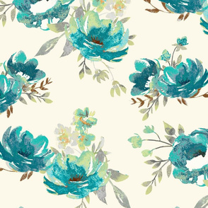 Large Blue and Cream Painted Floral