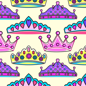 Princess Crowns Pastel yellow med JUMBO print size mariastar