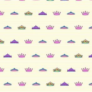 Princess crowns Yellow stripes Large JUMBO print size