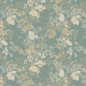 Teal and Gold Tossed Foliage