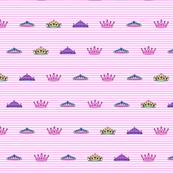 Princess mini crowns and stripes Large print size