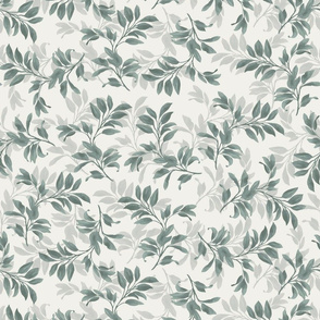 Fiona Tossed Leaves- Deep Green and Ivory