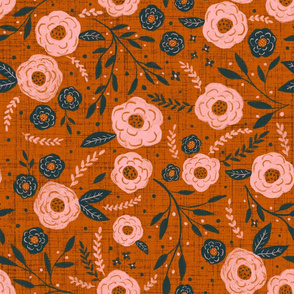falling for you- Navy and Burnt Sienna Floral