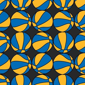 Basketballs in Royal Blue Golden Yellow and Slate Gray