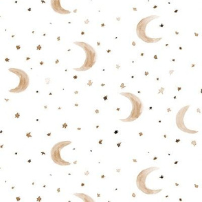 Moons and stars in earthy colors • boho watercolor for nursery