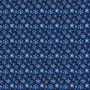 Snowflake crystals in royal blue extra small