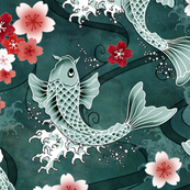 Koi sakura blossom in green - Large scale