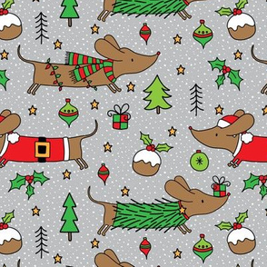 Dachshund Christmas on light grey - extra small scale