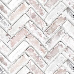 Whitewashed Brick wallpaper chevron herringbone
