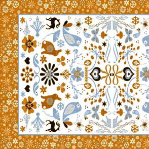 folk art blue orange border