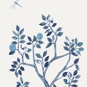 DELUXE SOFT BLUE ORANGE TREE  PANEL A