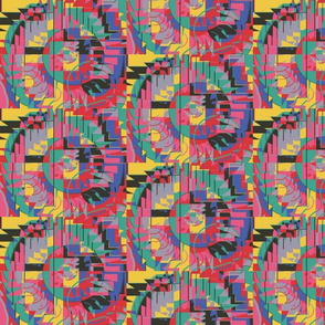 colorful kaleidoscope, small scale, blue green pink red lavender gray brown yellow