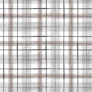 gray white tartan S