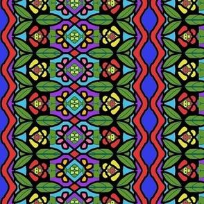Bohemian Flower Stripe with Zigzag Borders