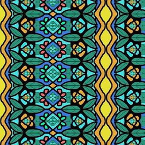 Bohemian Flower Stripe with Zigzag Borders 2