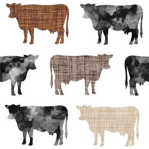 watercolor cows + mocha, caramel, 13-2