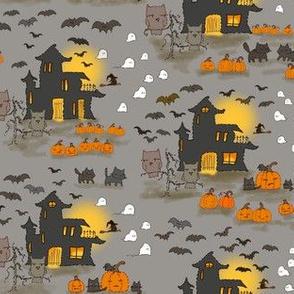 Halloween Embroidery  Gray Sky