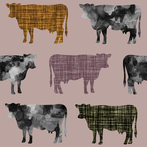 44-1 // watercolor cows + heather, olive green, 19-16