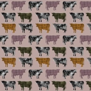 44-1 // small watercolor cows + heather, olive green, 19-16