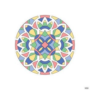 M08 Embroidery medallion blk 0.8pt w pastels