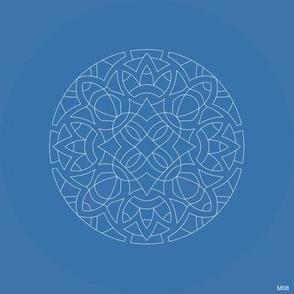 M08 Embroidery Medallion white 0.8pt on blue 3974AB
