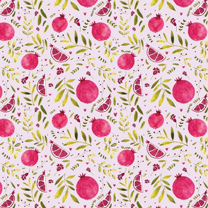 Colorful pomegranate watercolor pattern with green leaves and hearts
