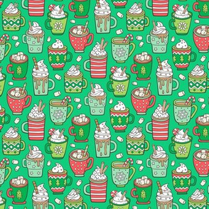 Hot Winter Christmas Drinks with Marshmallows on Green Smaller Tiny 1,5 inch