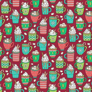 Hot Winter Christmas Drinks with Marshmallows on Dark Red Smaller Tiny 1,5 inch