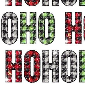 Buffalo-Plaid HoHoHo glitter Christmas Santa