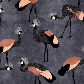Jumbo Crowned Cranes - copper pink & midnight blue