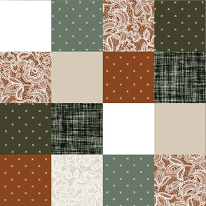 """6"""" squares // cinnamon + olive patchwork wholecloth"""