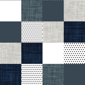 navy and slate patchwork wholecloth