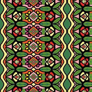 Bohemian Flower Stripe with Zigzag Borders 7