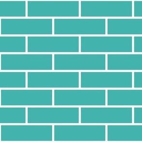 Three Inch Verdigris Horizontal Brick Wall