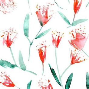 Magic flowers • scarlet and emerald • watercolor flowers