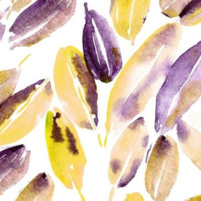 Nature delight • mustard and purple • watercolor fall leaves