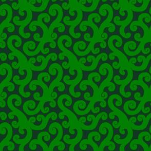 Curlicues Dark Greens 2:1