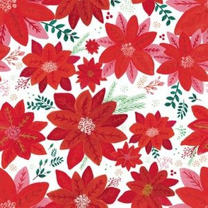 Nostalgic Holiday Red Poinsettia Flowers