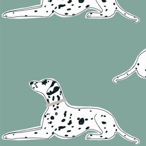 resting dalmatians on robins egg blue