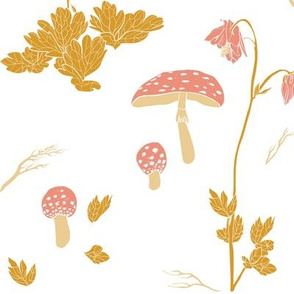 Mushrooms and flowers - white, yellow, rose