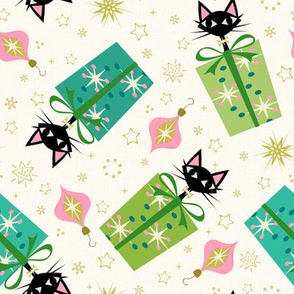 Vintage Kittens and Gift Boxes ©studioxtine