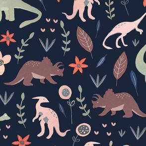 Gouache Dinosaurs - dark background