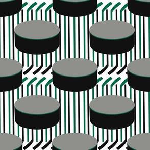 Dallas Stars Hockey Pucks Polka Dots Sticks Stripes Team Color Green Silver Black