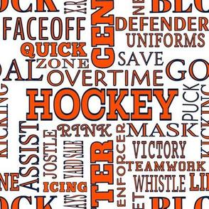Edmonton Oilers Hockey Alphabet Words Terms Lettering Team Colors Blue Orange