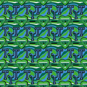 Tulane University Small Scale  Stripes Heart Wave Team School Colors Green Blue Black  White