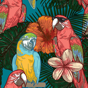Cool Floral Tropical Parrots